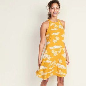Old Navy Yellow Tropical Palm Tree Print Dress
